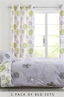 2 Pack Green Floral Bed Set