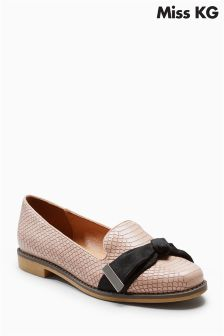 Miss KG Nude Snakeprint Monica Bow Loafer