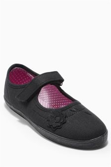 Black Flower Plimsolls  (Older Girls)
