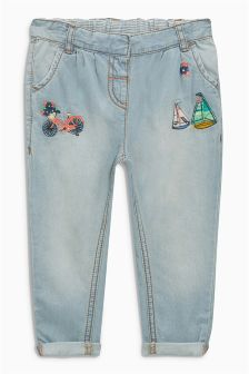 Light Blue Embroidered Jeans (3mths-6yrs)