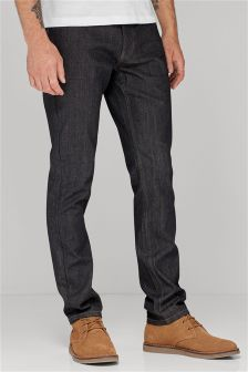 Coated Raw Denim Jeans With Stretch