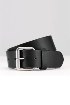 Black Leather Roller Buckle Belt