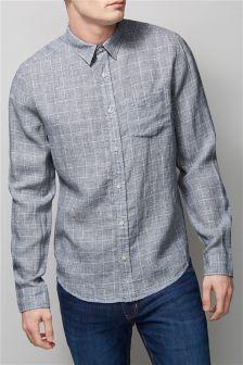 Linen Check Long Sleeve Shirt