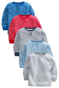 Five Pack Long Sleeve Whizzy T-Shirts (3mths-6yrs)