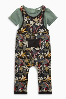 Multi All-Over-Print Dungarees (0mths-2yrs)
