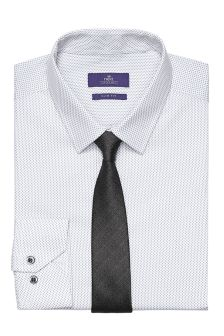 White And Grey Printed Shirt And Tie Set