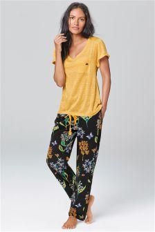 Black Bug Print Pyjamas