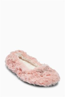 Pink Bow Ballerina Slippers (Older Girls)