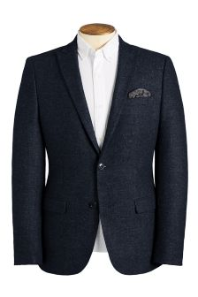 Navy Textured Slim Fit Jacket