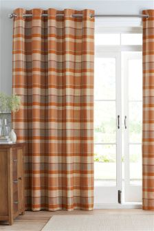 Ginger Rustic Woven Check Eyelet Curtains