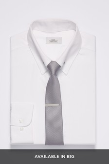 Plain Shirt With Collar Pin