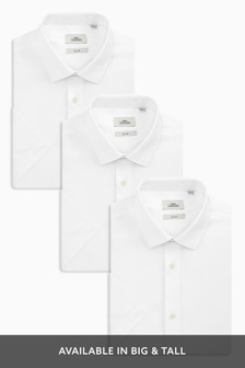 Three Pack Plain White Shirts