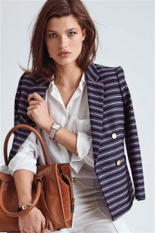 Stripe Double Breasted Blazer
