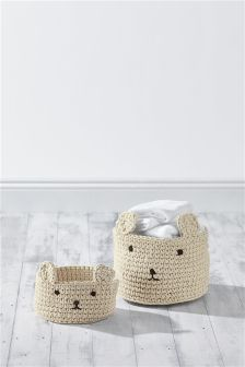 Set Of 2 Face Knit Baskets