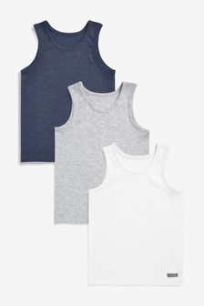 Three Pack Grey, White And Blue Vests (18mths-16yrs)