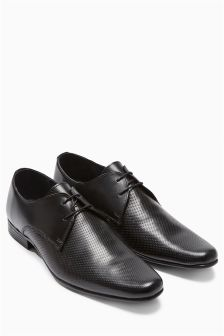 Black Perforated Lace-Up