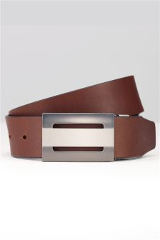 Black/Brown Leather Reversible Cut Out Plaque Belt