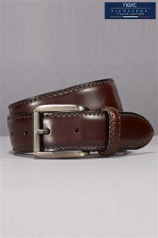 Brown Signature Italian Leather Classic Stitch Belt