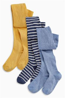 Indigo/Ochre/Navy Stripe Rib Tights Three Pack (3-16yrs)