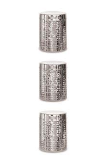 Set Of 3 Hammered Metal Storage Jars