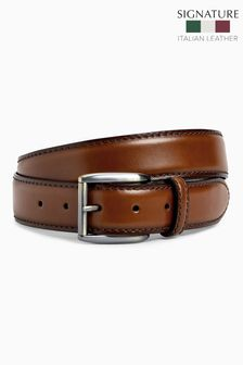 Signature Italian Tan Classic Stitch Belt