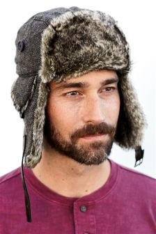 Grey Faux Fur Trapper