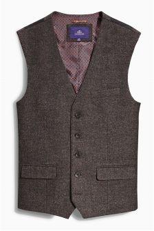 Brown Textured Waistcoat
