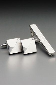 Diamanté Cufflinks And Tie Clip Set