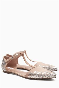 Nude Bridal T-Bar Point Sandals