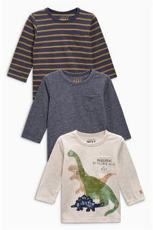 Oatmeal Long Sleeve Dinosaur Tops Three Pack (3mths-6yrs)