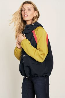 Colourblock Cropped Sporty Cagoule