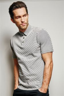 Grey Textured Stripe Polo
