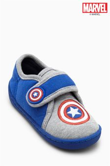 Blue Captain America Slippers (Younger Boys)