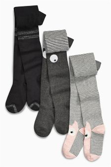 Monochrome Stripe And Character Tights Three Pack (3-16yrs)