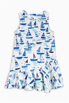 Blue All Over Print Boat Dress (3mths-6yrs)