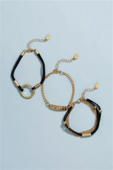 Gold Tone Black Cord Bracelet Pack
