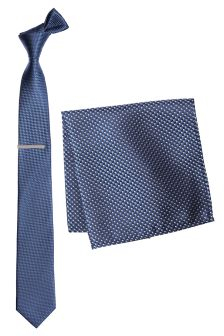 Blue Textured Tie, Pocket Square And Tie Clip