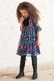 Purple Printed Folk Dress (3-16yrs)