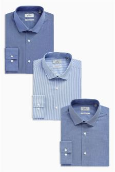 Blue Striped And Plain Regular Fit Shirts Three Pack