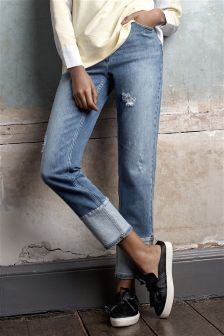 Mid Blue Vintage Turn Up Ankle Jeans