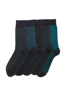 Navy/Teal Mixed Pattern Socks Five Pack