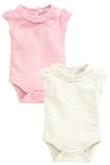 Pink/Cream Bodysuits Two Pack (0mths-2yrs)