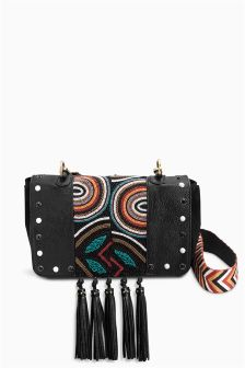 Black Leather Beaded Across Body Bag