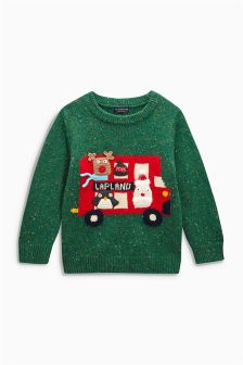 Green Christmas Lapland Bus Jumper (3mths-6yrs)