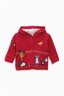 Red Embroidered Hooded Cardigan (0mths-2yrs)