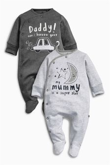 Grey/Charcoal Mum And Dad Sleepsuits Two Pack (0mths-2yrs)