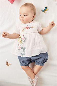 白色花朵图案女衬衫和灯笼裤套装 (0个月-2岁)