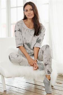 Grey Printed Pyjamas