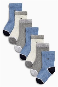 Blue Logo Socks Seven Pack (Younger Boys)