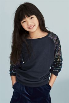 Navy Sequin Arm Crew (3-16yrs)